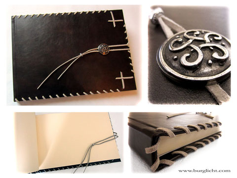 Großes Gästebuch mit Hardcover-Ledereinband, umlaufender Flechtung und keltischem Knoten