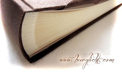 Beispiel Fotoalbum-Buchblock mit Pergaminzwischenlagen