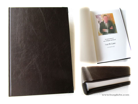 Kondolenzbuch, Trauerbuch, Hardcover Leder dunkelbraun; Online-Kondolenzbuch gesetzt, gedruckt und in traditioneller Fadenheftung gebunden, Buchecken mattschwarz.