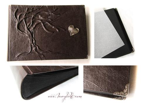 Fotoalbum, Hardcover, Ledereinband antikbraun, Hochrelief Baum, schwarzer Buchblock, 100 Seiten, Herzanhänger und Buchecken silberfarben,