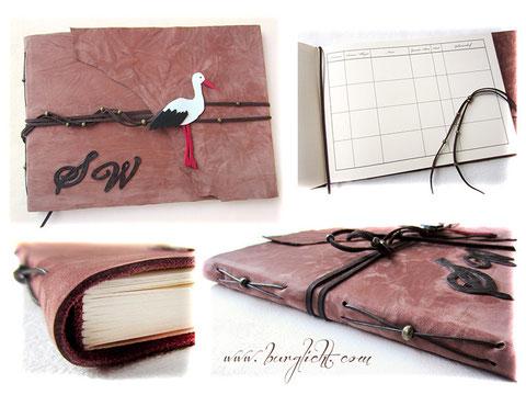 Geburtenbuch - Lederbuch mit bedruckten Seiten und individuellen Accessoires