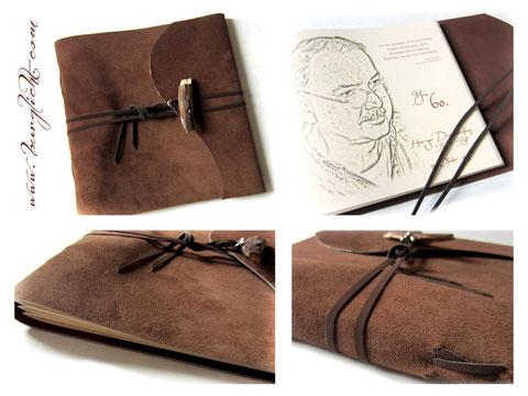 Lederbuch, Softcover, Spaltleder mittelbraun, Kreuzstichbindung, Druck individuelles Layout auf Seite 1 im Buch, Innenseiten Fotokarton ivory