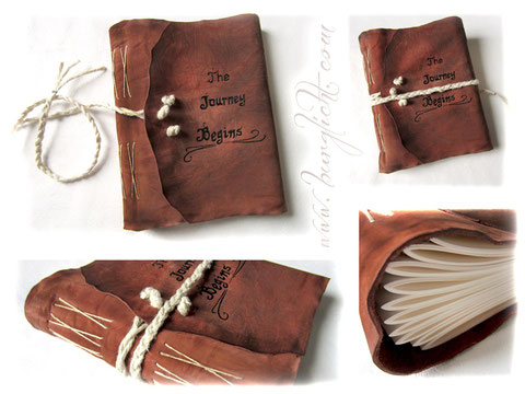 Handgefertigtes Lederalbum mit geflochtener Jutekordel und mit Lederfarbe beschriftetem Einband