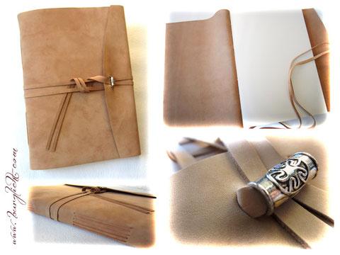 Lederalbum, Softcover, Leder naturbeige, Einstichbindung, umlaufender Buchverschluss mit Dekohülse, A4 Hochformat, 80 Seiten elfenbeinfarben.