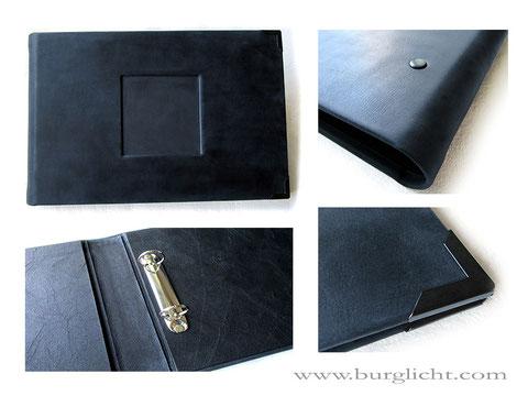 Kondolenzbuch Hardcover Ledereinband mit Vertiefung für Foto oder gravierte Platte. Lederordner für A4 Querformat mit 2-Ring-Mechanik hochwertige Innenausstattung Buchecken