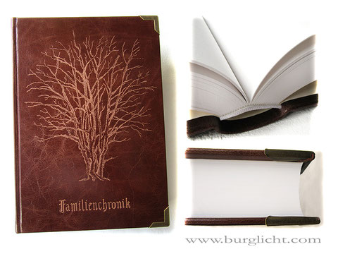 Lederbuch A4 Hardcover, Ledergravur Baum nach Kundenfoto, 400 Seiten naturweiß 130g/m², Buchecken altmessing