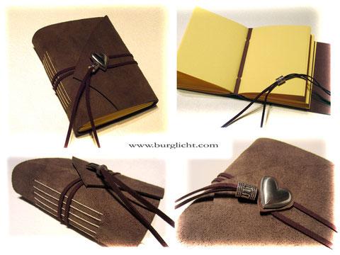 Lederbuch Kleines Notiz- oder Tagebuch aus braunem Spaltleder, Einstichbindung, Buchverschluss Herz