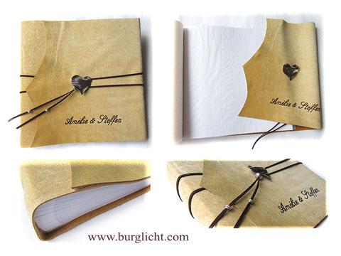 Lederalbum Softcover, Büffelleder natur beige, 30cm x 30cm, Fotoalbum 100 Seiten weiß mit Pergaminzwischenlagen, großer Herzanhänger, Einbandbeschriftung Namen