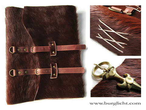 A4 Buch, Echtes Kuhfell braun, Softcover, Kreuzstichbindung, Nacharbeitung spätmittelalterliche Schnalle