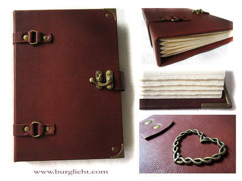 Lederbuch Hardcover Glattleder rotbraun Büttenpapier Herz antik bronze Draht gedreht Deko-Schloss und Beschläge altmessingfarben
