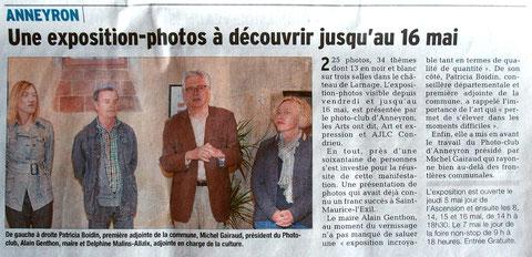 Article du Dauphiné Libéré du 3 mai 2016