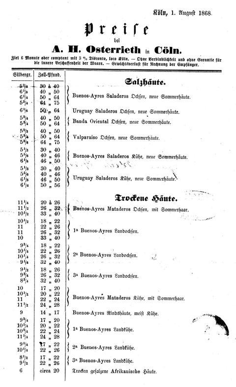Angebotsliste aus dem Jahre 1868 einer Kölner Importfirma