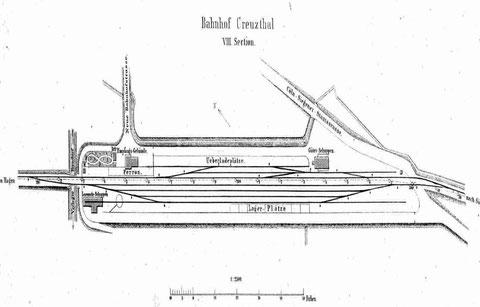 Gleisplan des Bahnhofs Kreuztal von 1861
