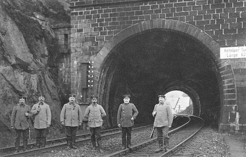 Hofolper Tunnel 1914; der kürzeste Tunnel der Strecke wurde 1964 aufgeschlitzt