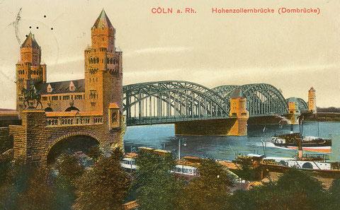 Hohenzollerbrücke (Dombrücke) von 1911, Kölner Seite