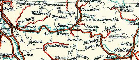 Bahnstrecke von Deutz nach Betzdorf und von dort nach Siegen und Giessen