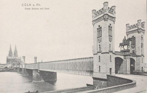 """Dombrücke von 1861 mit dem Reiterstandbild des Kronprinzen Wilhelm I """"op dr schäl Sick"""""""