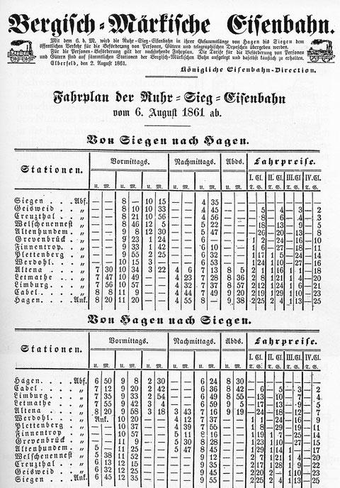 Erster Fahrplan der Ruhr-Sieg-Bahn vom 6. August 1861