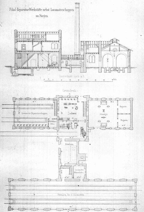 Grundriß der Filial-Reparaturwerkstätte von 1862 in Siegen (3)