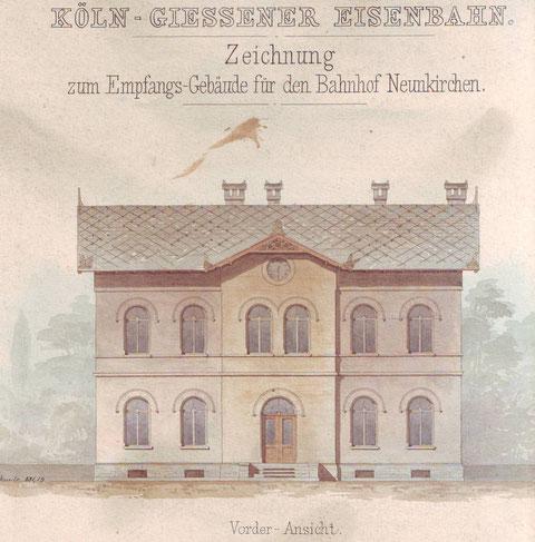 1859: Das ursprüngliche Empfangsgebäude für den Bahnhof Neunkirchen (Kreis Siegen)