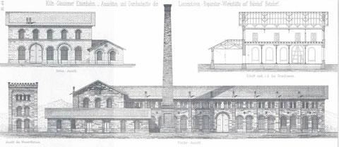 Werkstätte auf dem Bahnhof Betzdorf 1862