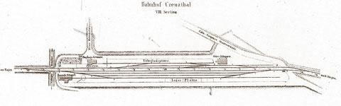 Situationsplan des Bahnhofs Creuzthal 1864