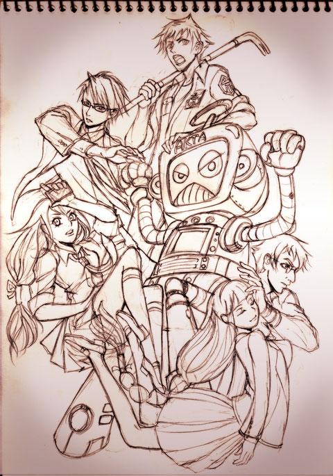 集合絵的なラフ絵。「京都カラクリ時空譚」烏丸高校カラクリロボット研究部。SF恋愛サスペンスなゲーム企画を想定しています。