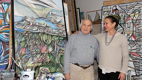 Albert Christoph Reck mit seiner Tochter Genoveva Reck-Thomas in seinem Atelier Foto: Julia Fischer