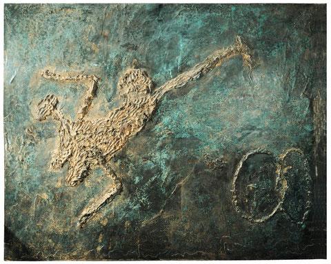 Das Rad, 1994, Bronzerelief, Unikat, 208 x 254 cm
