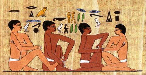 """Les hiéroglyphes signifient : """"Ne me fais pas mal"""" Le praticien répond : """"Je ferai en sorte que tu me remercies"""""""