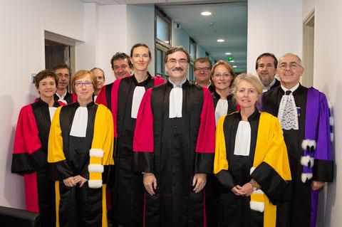 Un groupe de professeurs entourant Daniel Kilonsky. Les couleurs des toges sont représentatives des spécialités ( photoGautier Dufal)