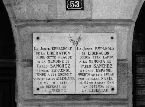 Plaque à la mémoire de Pablo Sanchez 53 quai Richelieu