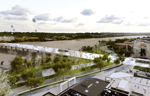 Vue aérienne du projet du pont Simone- Veil