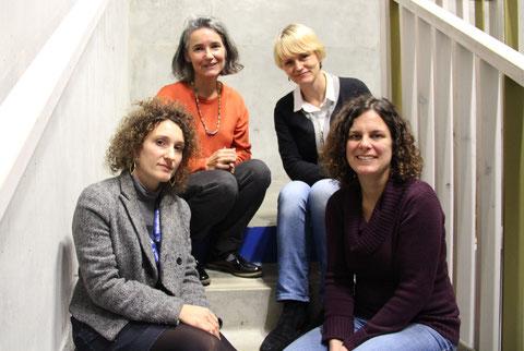 En haut, de gauche à droite Geneviève Gaillabet, Tatiana  Midou, en bas, Sanie Fabre, Céline Morice et Jacques Fabre, président