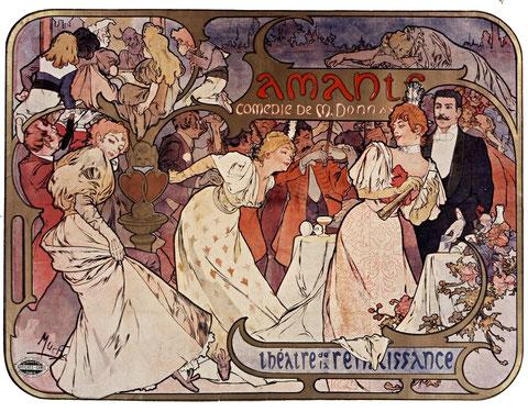 """Alfons Muchas-Affiche pour la pièce""""Les amants de M.Donnay au théâtre de la Renaissance-1895( D.R.)e"""