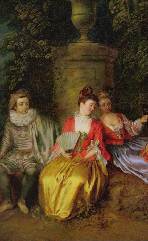 Détails d'une oeuvre de A. Watteau, huile sur toile, San Francisco Museum