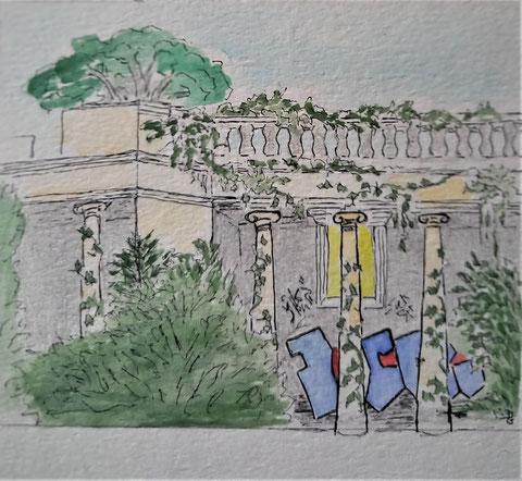 Dessin de la bâtisse, parée de colonnes,  exécuté par Danielle Garde