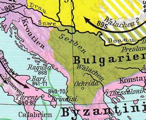 Hrvatska polovicom 9. stoljeća. Crvena Hrvatska se prostirala preko Crne Gore do u dubinu današnje Albanije (Das Reich und Europa im Mittelalter - Orbis Verlag)