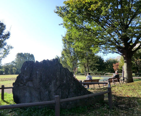 10月21日(2012) 大きな石とベンチで憩う人(いこいの森公園:西東京市)