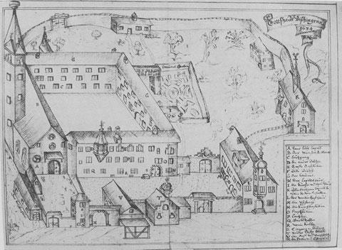 Klosteransicht um 1634, Heinrich Murer Klosterchronik