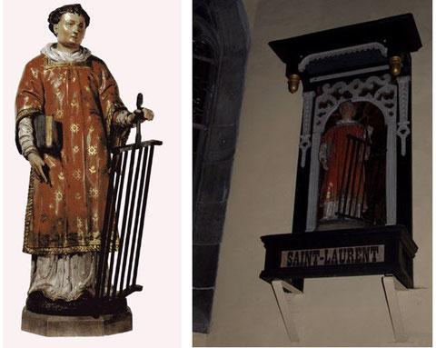 Statue Saint Laurent du 17ème siècle. Bois visible en tilleul.