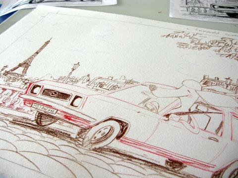 Vorzeichnung der Cover-Illustration