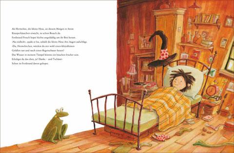 Alle wollen etwas von Hermeline. Friedolin Frosch möchte, dass der Regen aufhört.