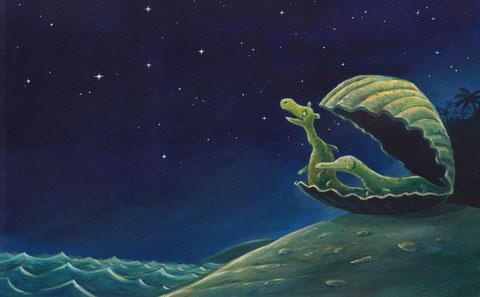 Urmel und Wawa betrachten den Sternenhimmel.