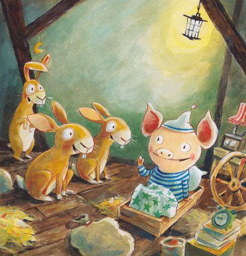 Können die Hasen dem kleinen Schweinchen helfen?