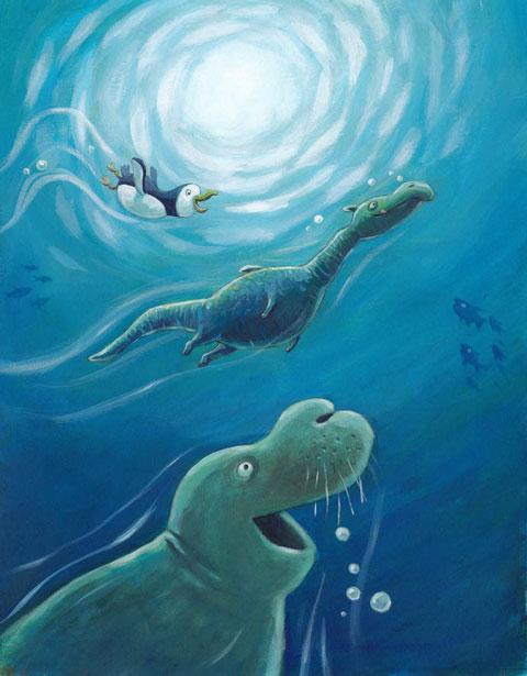 Ping Pinguin und Seelefant bringen Urmel schwimmen bei.