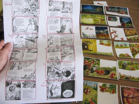 Das Storyboard neben den fertigen Originalzeichnungen.