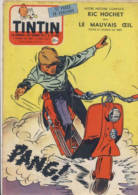 """""""la chute de scooter !"""" prequel aux couvertures """"véhicules"""". Journal de Tintin numéro 386 du 15 mars 1956"""
