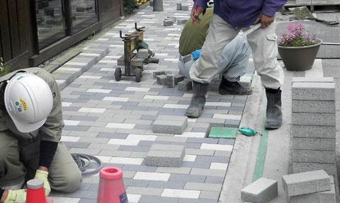 インターロッキングブロック舗装工事