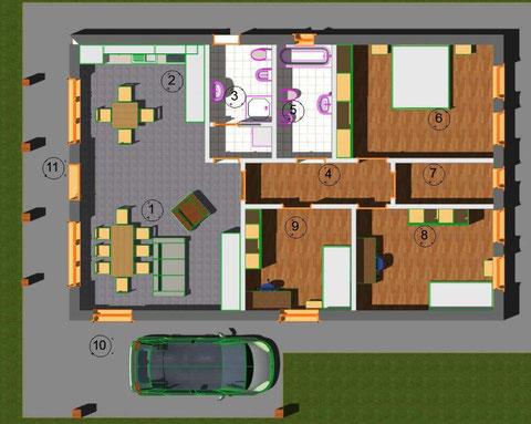 Planimetria Villa 100 mq tradizionale